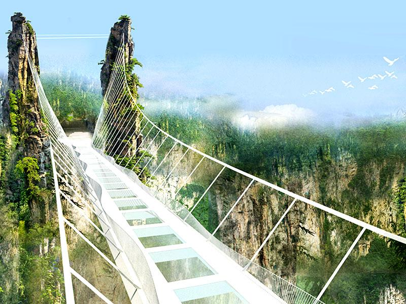 Hovering 300 metres (984 feet) above the ground, the bridge is designed to accommodate 800 people and is located in Zhangjiajie National Park, one of the inspirations for James Cameron's 2009 film Avatar.