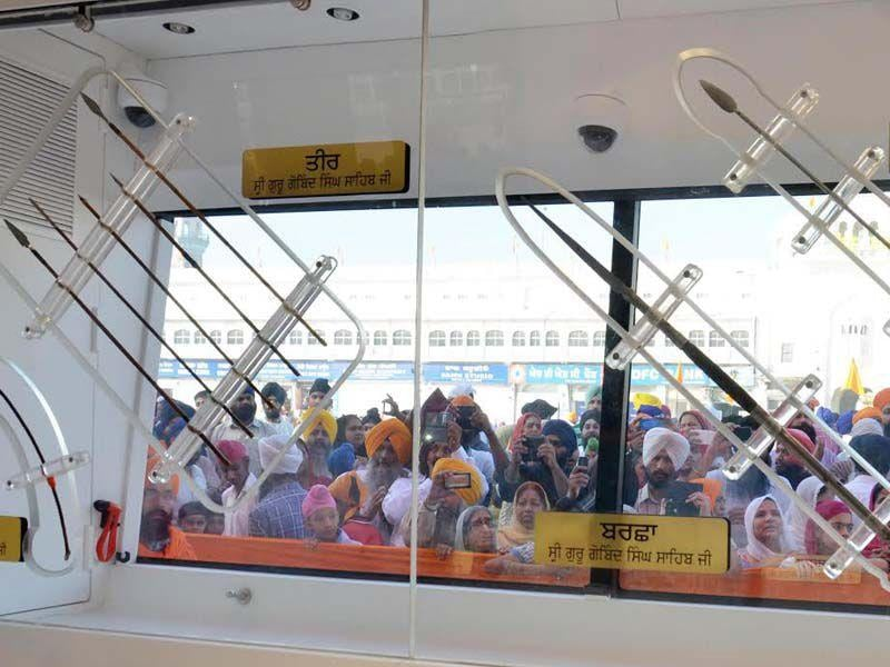 The relics of the Sikh gurus, including their clothes and weapons, are being taken around Punjab. Relics of sixth guru, Hargobind Singh, ninth guru, Tegh Bahadur and tenth and final guru, Gobind Singh, are being carried on the tour.