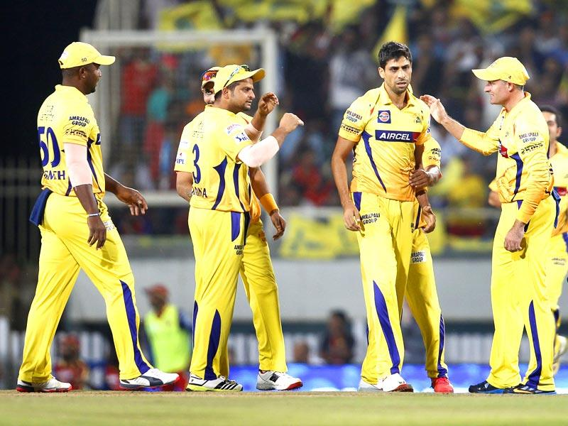 Ashish Nehra of Chennai Super Kings (CSK) celebrates after taking the wicket of Royal Challengers Bangalore's (RCB's) AB de Villiers during the Indian Premier League (IPL) 2015 Qualifier 2 match between the two sides in Ranchi on May 22. (Ajay Aggarwal/HT Photo)
