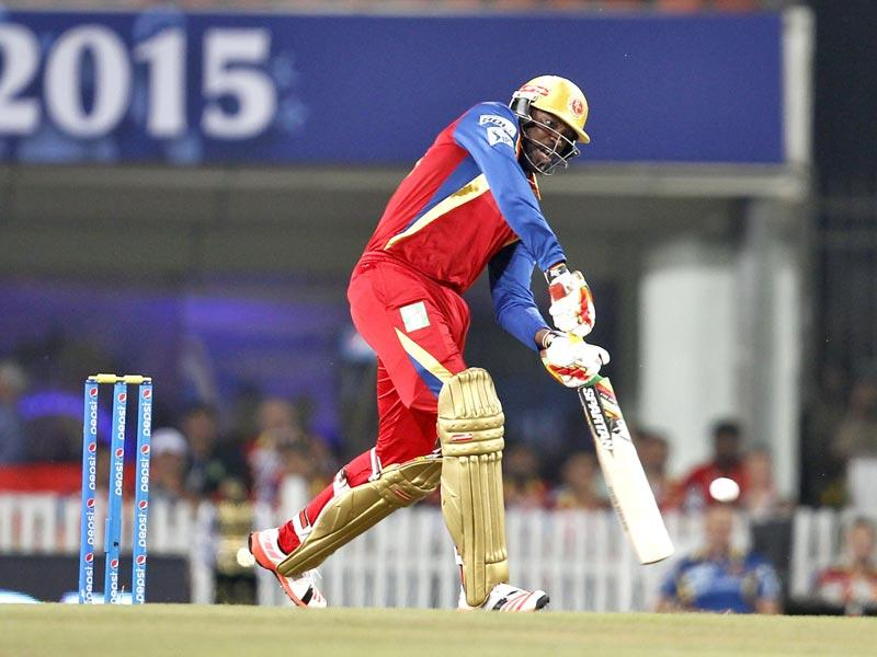 Chris Gayle of Royal Challengers Bangalore (RCB) in action against Chennai Super Kings (CSK) during the Indian Premier League (IPL) 2015 Qualifier 2 match between the two sides in Ranchi on May 22. (Ajay Aggarwal/HT Photo)