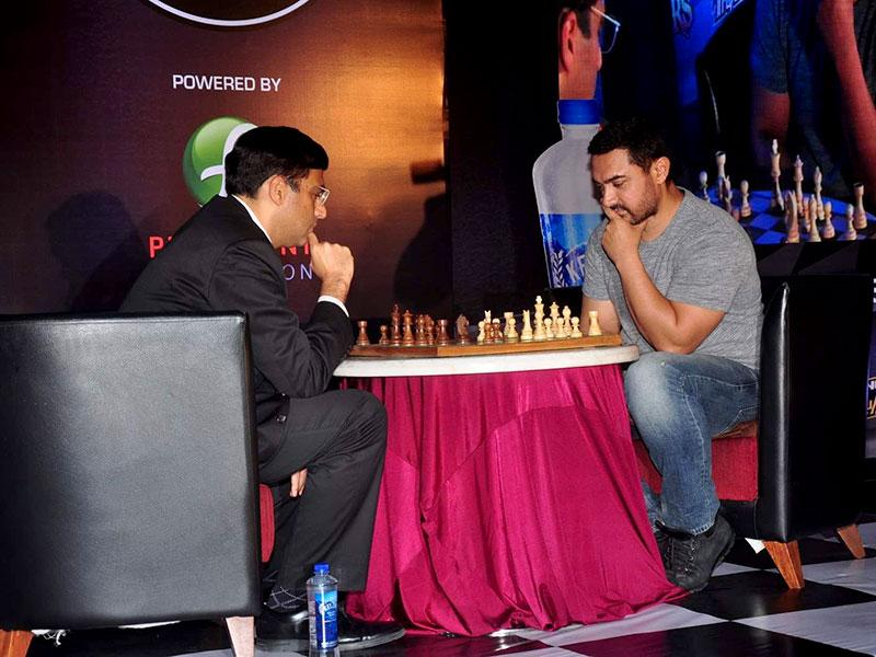 Actor Aamir Khan and Chess World Champion Vishwanathan Anand during the announcement of 3rd Edition of Maharashtra Chess League in Mumbai. Aamir, who has done a film around cricket and is now working on a movie on wrestling, hopes to feature in a project on chess, a game which he enjoys playing. (IANS photo)