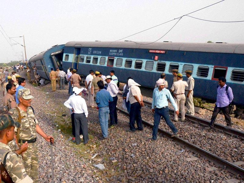 Rescue work in progress after Jammu-Tata Nagar Muri Express derailed in Kaushambi district of Uttar Pradesh on Monday. (PTI Photo)