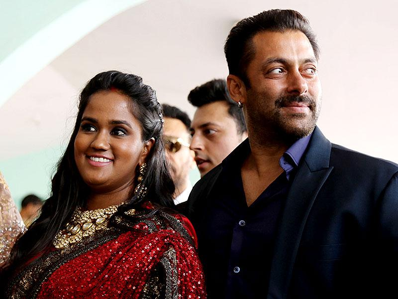 Actor Salman Khan, dressed in blue, waved at cameras and crowds from a balcony. He also later shook a leg to Himachali tunes.