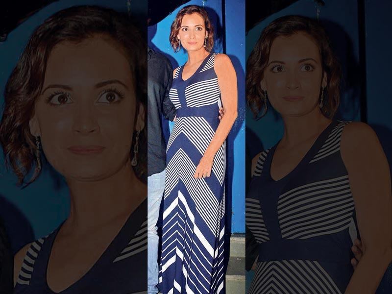 Dia Mirza: The actor- ­producer opted for a maxi striped dress for a function in Mumbai recently. Minimal makeup and accessories completed her look.