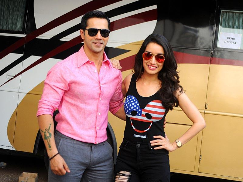 Varun Dhawan and Shraddha Kapoor pose during a promotional event for their upcoming film ABCD 2. (AFP Photo)