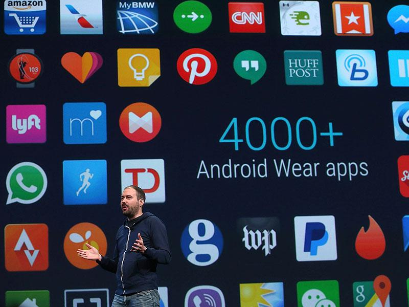 Google Android Wear director David Singleton announces Androidwear updates during the 2015 Google I/O conference in San Francisco. Photo: AFP/Justin Sullivan