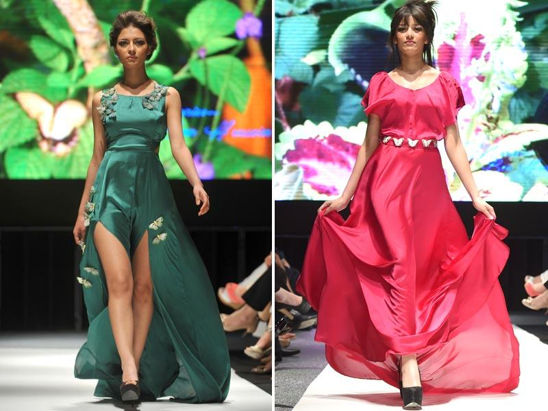 Models walk down the catwalk wearing a dress by Tunisian fashion designer Mariam Hussein during the Summer Fashion Week in Tunis. Bright colours and flowy silhouettes ruled the runway. (Photos: AFP)