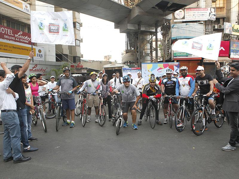 A cyclothon was organised by HT as part of this year's No TV Weekend Festival, in Mumbai. (Vidya Subramanian/HT photo)