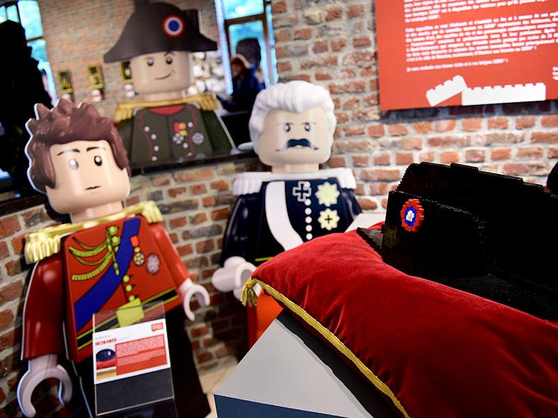 A Lego-bricks-made bicorne hat of former French emperor Napoleon I, is displayed prior to the opening of the exhibition. (AFP PHOTO/Emmanuel Dunand)