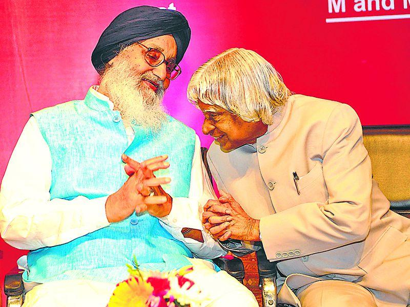 Punjab CM Parkash Singh Badal with former President of India Dr. APJ Abdul Kalam during the
