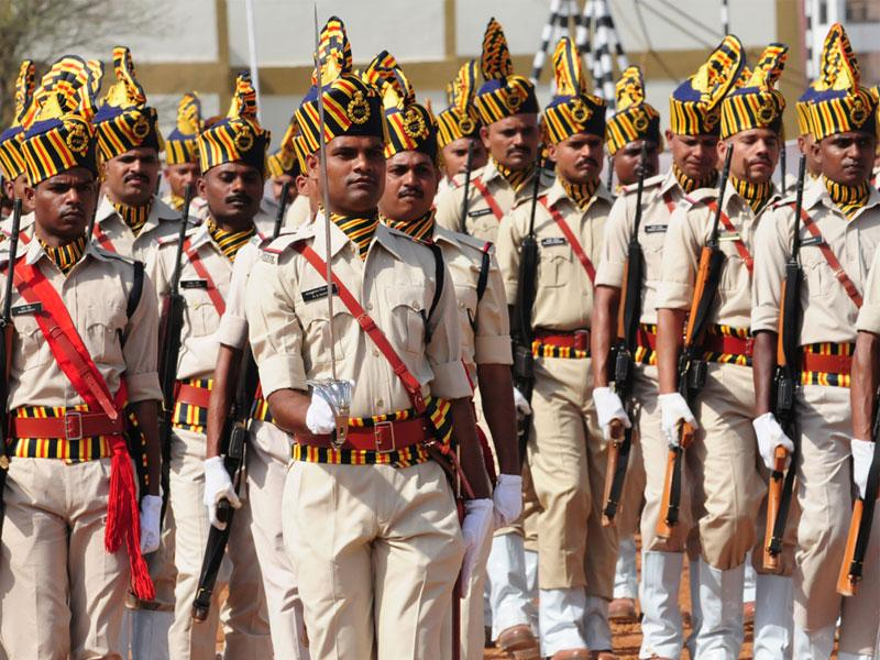 The passing out parade of 179 probationary sub-inspectors was held at Madhya Pradesh Police Academy, in Bhopal on Saturday. (Mujeeb Faruqui/HT)