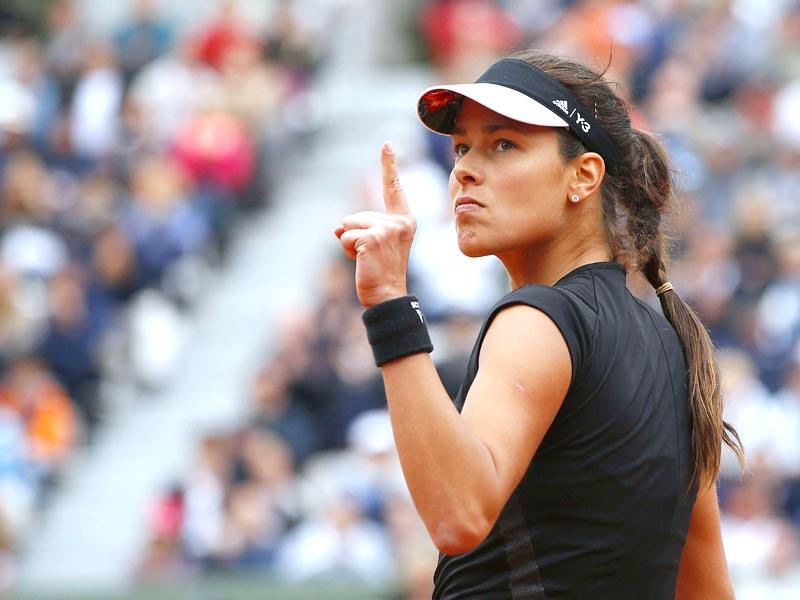 Serbia's Ana Ivanovic celebrates after winning a point in a women's singles match at the 2015 French Open in Paris. (AFP Photo)