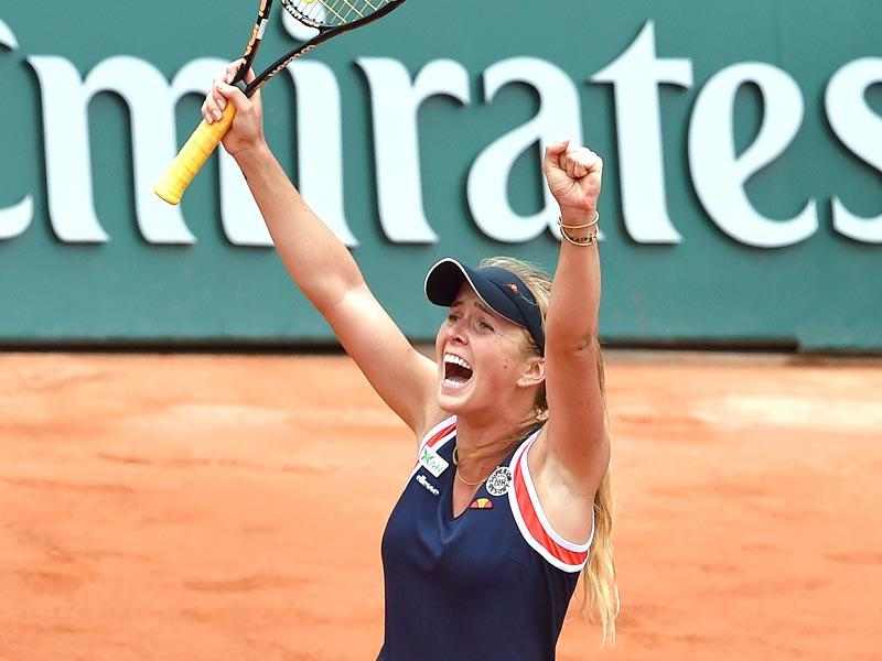 Ukraine's Elina Svitolina celebrates after defeating France's Alize Cornet during the women's singles fourth round at the French Open in Paris. (AFP Photo)