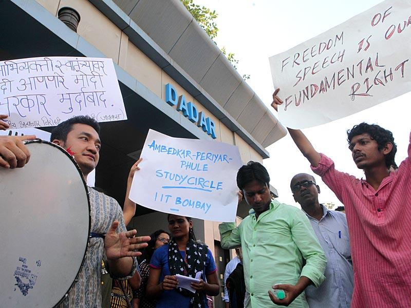 IIT-Bombay students and RPI supporters protested against the derecognition of the Ambedkar Periyar Study Circle (APSC) by the IIT, in Mumbai. (Pratham Gokhale/HT photo)