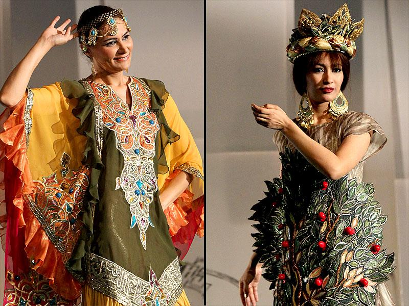 Models present creations by local designers at Baghdad's Fashion Institute fashion show on June 1, 2015. Flowing garments and traditional cuts were the highlights. (AFP)