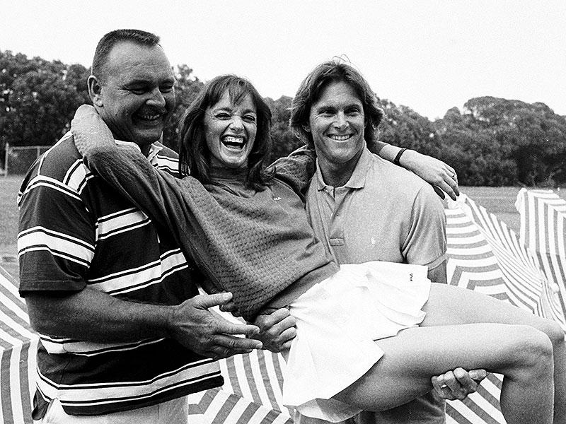 Olympian Bruce Jenner (R) poses with NFL player Dick Butkus and actress Pamela Sue Martin at the taping of the early reality show filming of tv show Star Games in Santa Barbara, California in this June 15, 1985 photo. (Reuters)