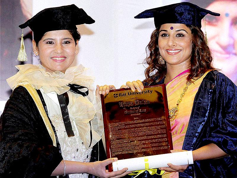 The bold and versatile actor Vidya Balan, acclaimed for her performances in movies like Dirty Picture and Kahaani, was conferred an honorary doctorate in Arts by Rai University in Mumbai on June 1. (PTI Photo)