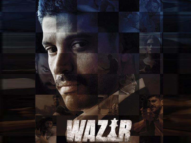 Farhan Akhtar in a poster from Wazir.