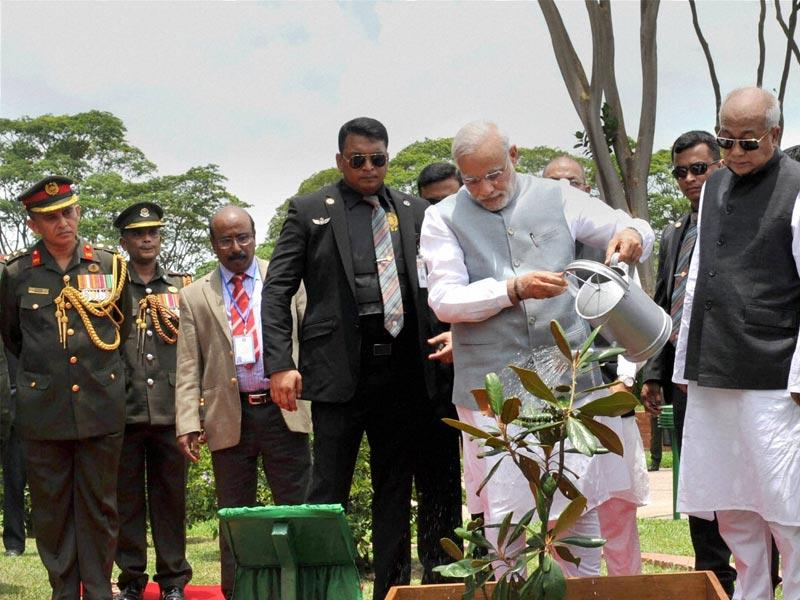 Prime Minister Narendra Modi plants a sapling at National Martyrs' Memorial during a visit, in Dhaka . PTI Photo