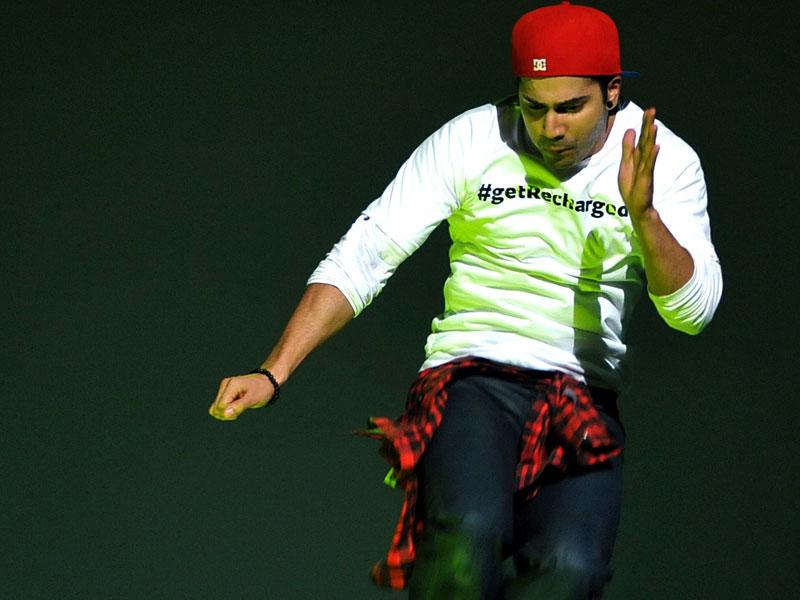 Yupee! Varun Dhawan enjoys at a promotional event for ABCD 2. (AFP Photo)
