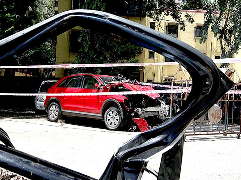 The Audi Q3 which was crashed into the taxi by high court lawyer Janhavi Gadkar, killing 2 and injuring 4, in Mumbai. (Kunal Patil/HT photo)