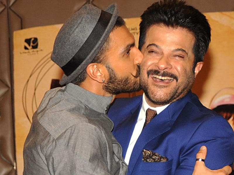 Anil Kapoor and Ranveer Singh strike a pose for the shutterbugs. (Photo: AFP)