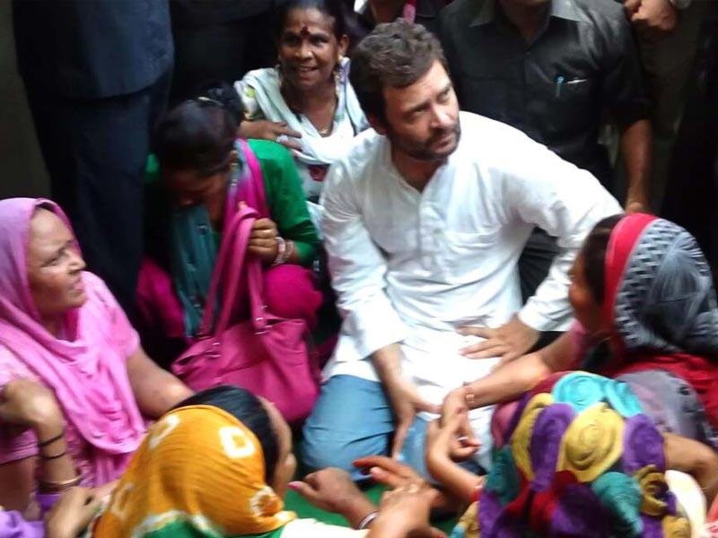Congress vice-president Rahul Gandhi visited east Delhi MCD office and interacted with striking sanitation workers. He said both Centre and Delhi government were shirking their responsibilities and that