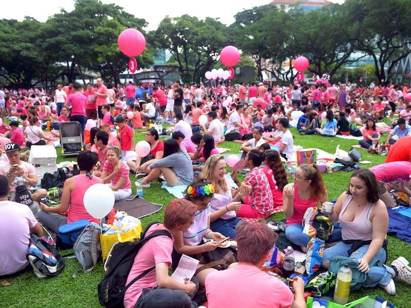 A crowd dressed in pink gathers at Hong Lim Park in Singapore to kick off the annual