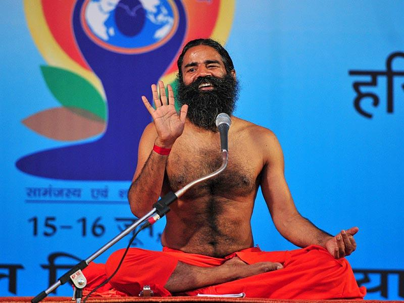 Yoga guru Ramdev conducting a two-day Shivir at Panchkula. (Keshav Singh/HT Photo)