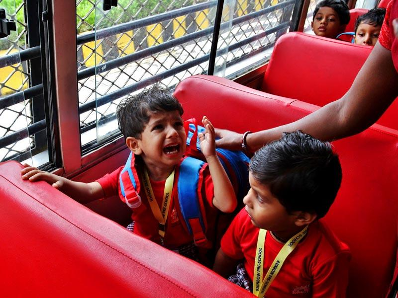 For some children in Thane, the first day of school invariably started with tears as they entered a new environment. (Photo: Praful Gangurde)