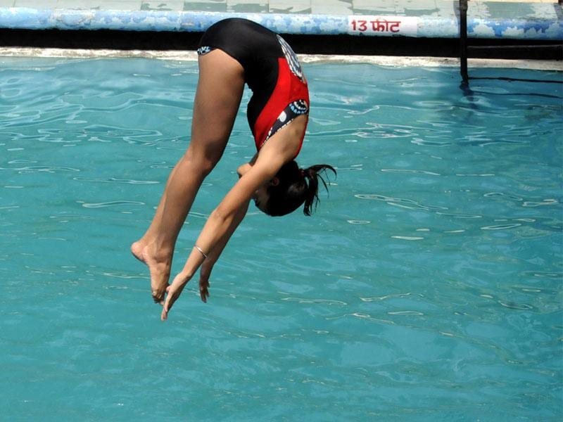 A state-level diving competition was organised in Indore on Tuesday. Selected children will represent MP in national aquatic championship. (Shankar Mourya/HT)
