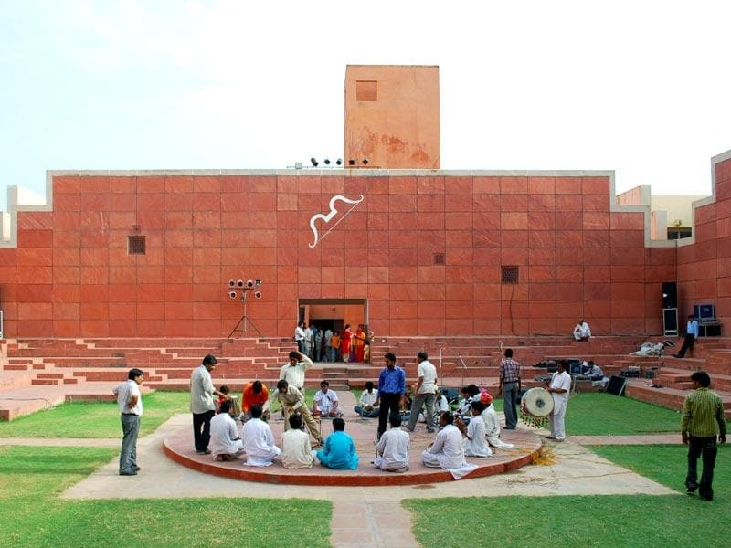 Jawahar Kala Kendra (1986–1992) has two conflicting sets of mythic ideas and images: Ancient Navagraha and the newest myths of science and progress. (Wikipedia Commons)