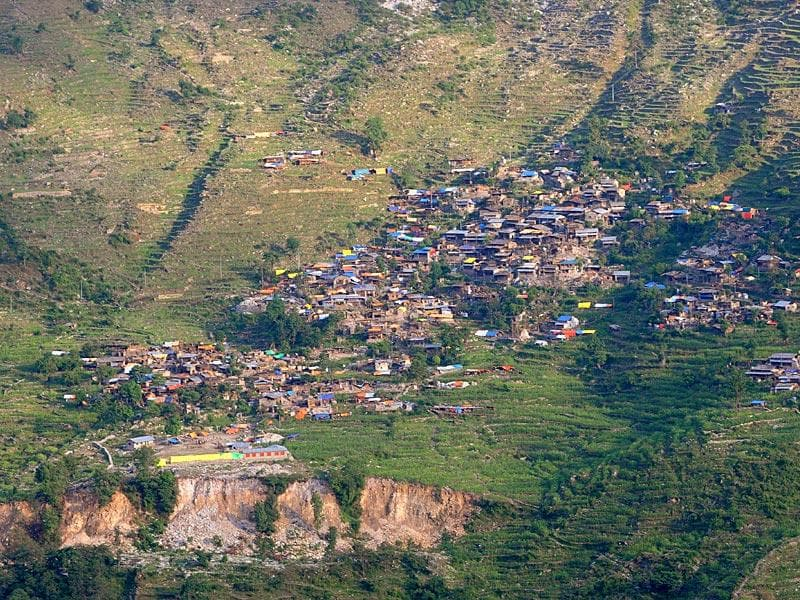 Aerial view of an earthquake affected village in the Gorkha District, some 250kms north-west of Kathmandu. (AFP photo)