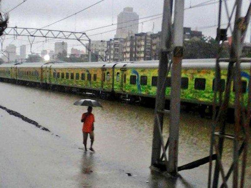 Waterlogging is a major problem at Mumbai railways stations due to the rains (HT Photo)
