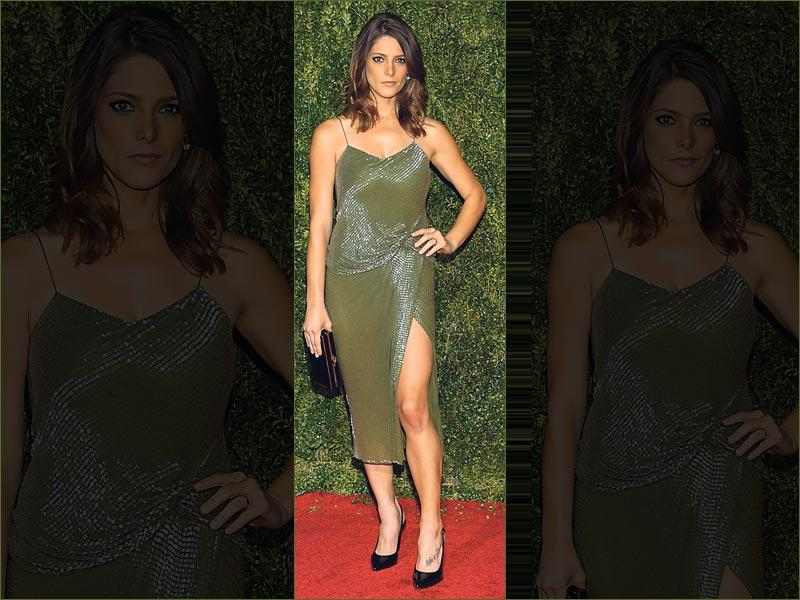 Style slithering: Get edgy like actor Ashley Greene, who aces the trend in an unusual serpentine shade of green and oodles of sequins. Smokey eyes and minimalistic clutch complete her look. (AFP Photo)