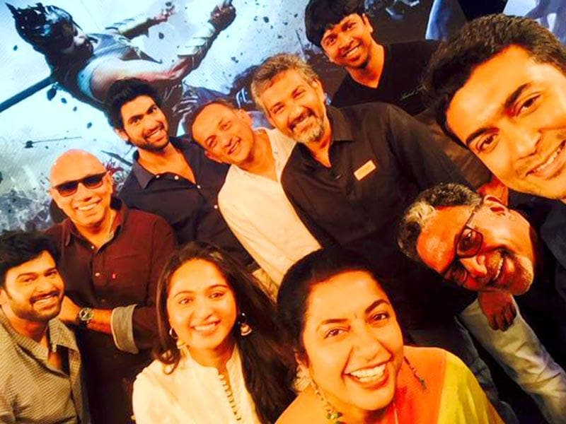 Actor Suriya shares a selfie with the Baahubali team at its audio launch in Tirupati. (Suriya_offl/Twitter)