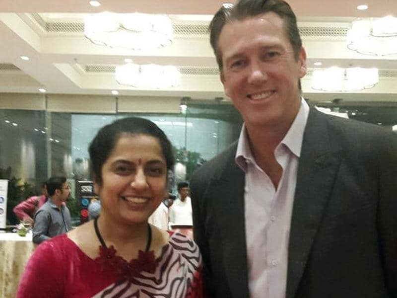Actor Suhasini uploads her picture with Glenn McGrath; captions it 'Having dinner with THE ...Glen mc grath'. (suhasinih/Twitter)