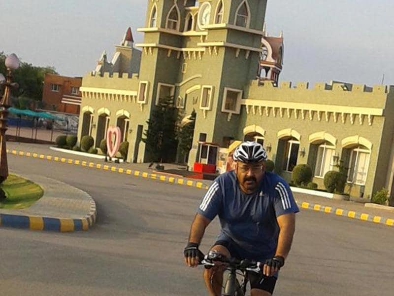 Malayalam superstar Mohanlal cycles around Ramoji Film City, Hyderabad. (Mohanlal/Twitter)