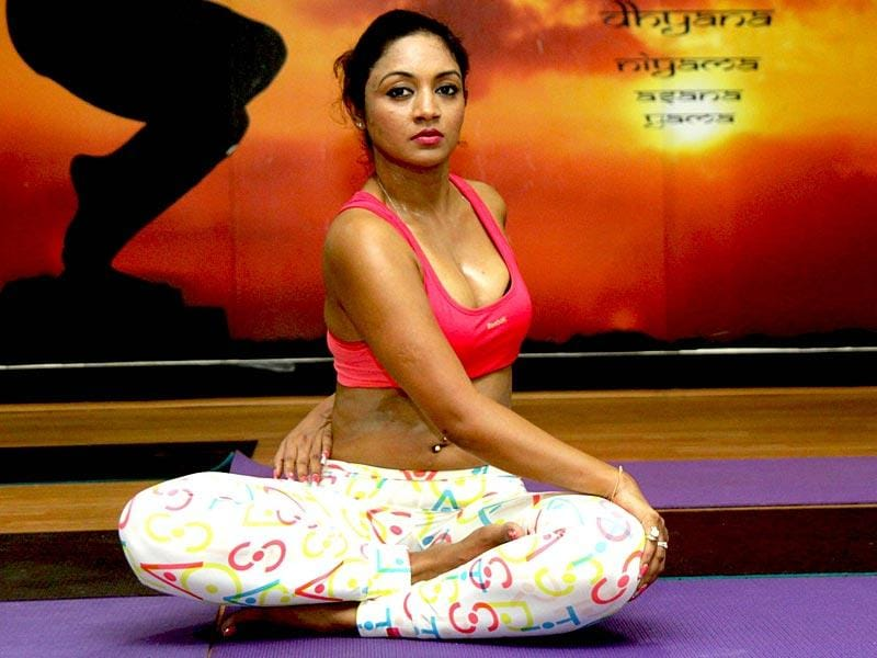 Actor Marisa Verma practices yoga ahead of International Day of Yoga in Mumbai. (Photo: IANS)