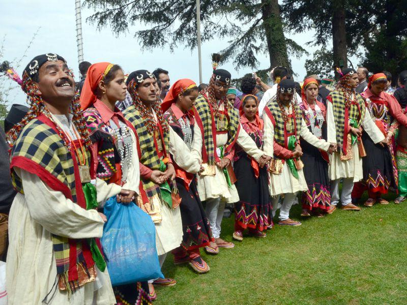 Dancers performing the traditional dance 'nati' during the 81st birthday celebrations of Himachal Pradesh CM Virbhadra Singh at his residence, Holy lodge, in Shimla on Tuesday. Santosh Rawat/HT