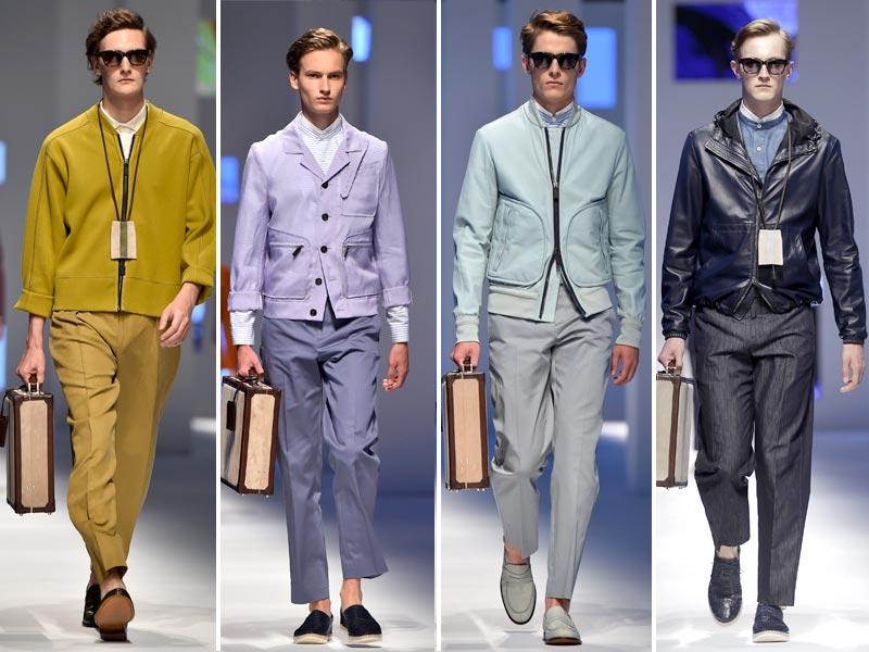 Elegant, gem-like hues were on show at Canali. Yet despite the feminine colour palette, tailoring was decidedly masculine.