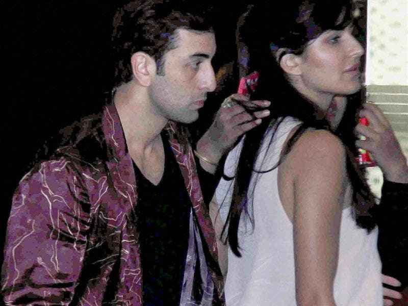 Ranbir Kapoor and Katrina Kaif spotted at the birthday party of Arjun Kapoor in Mumbai on Saturday. (PTI Photo)