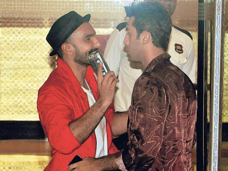 Ranveer Singh greets Ranbir Kapoor at the birthday bash of friend Arjun Kapoor. (Photo: Yogen Shah/HT)