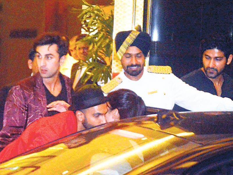 Ranbir Kapoor, Ranveer Singh and Katrina Kaif at Arjun Kapoor's birthday bash. Browse through to see all the stars who marked their attendance! (Photo: Yogen Shah/HT)