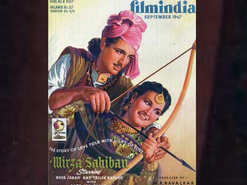 Mirza Sahiban, an adaptation of the classic love story, was one of the top grossers of 1947 (it made Rs 35 lakhs at the time). The film starred Trilok Kapoor (Prithviraj Kapoor's brother) and Noor Jehan (best known as the Pakistani singer, who sang Chandni Raatien). Baburao Patel scathingly wrote that Noor Jehan had an ageing face, having seen two world wars.