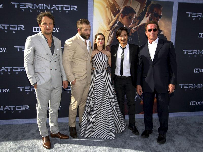 Jason Clarke, Jai Courtney, Emilia Clarke, Byung-hun Lee and Arnold Schwarzenegger pose at the premiere of Terminator Genisys in Hollywood. (Reuters)
