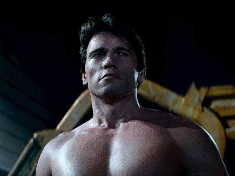This is not a #Throwback image. Fans get to see Arnold Schwarzenegger young and shirtless once more in Terminator Genisys. Ten points for comparing it with the money shot in the first Terminator film. (Reuters)