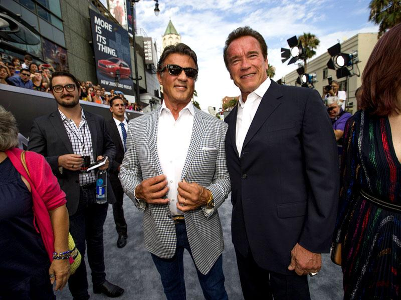 The competitors obviously hated each each other's guts. They really did come a long way to do films together in the autumn of their careers. As Arnold aims to revive the Terminator franchise, foe-turned-friend Sylvester was there to root for him. (Reuters)