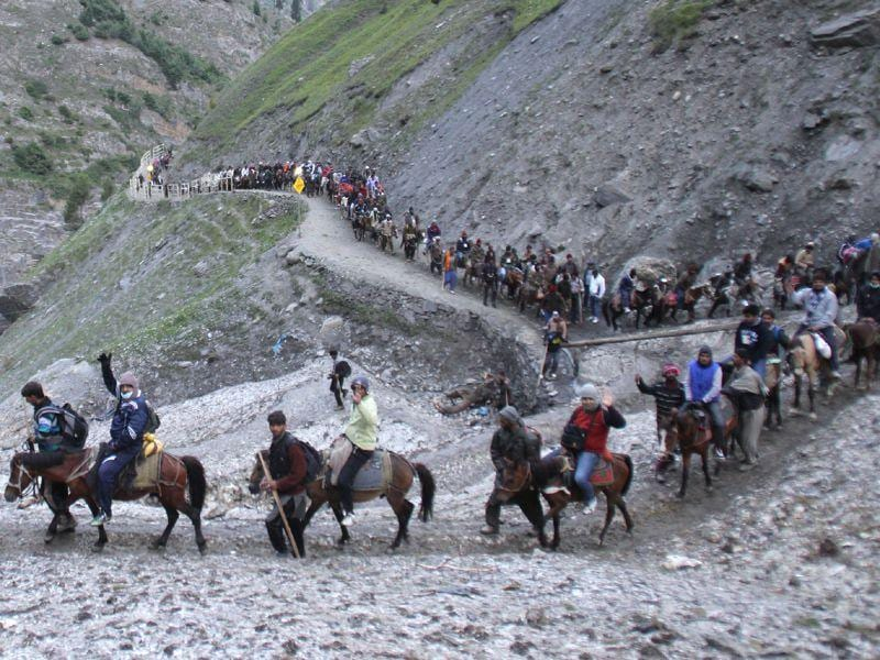Amarnath Yatra was flagged off by J-K health minister Choudhary Lal Singh from the Lakhanpur base camp in Kathua district. Waseem Andrabi/HT