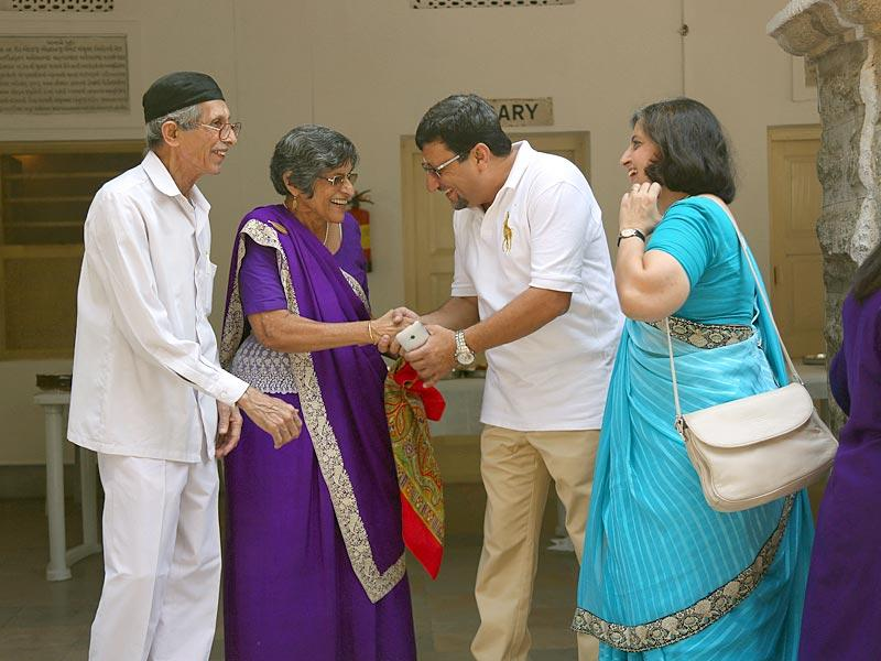 Members of the Parsi community greet each other on the occasion of the Navroz festival at Hyderabad: HT Photo